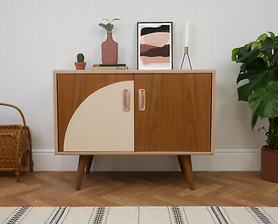 G Plan Teak Mid Century Record Cabinet Cupboard TV Unit Storage Blush Pink