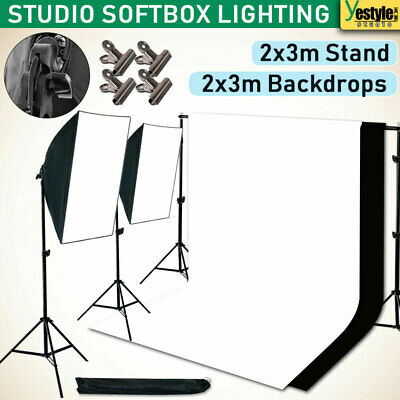 Studio Softbox Lighting Stand Kit Photography Video Backdrop Background Stand