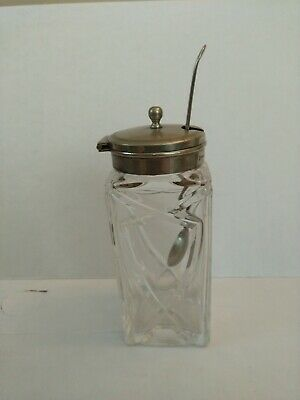 Vintage Crystal With Epns Hinged Lid Mustard Pot