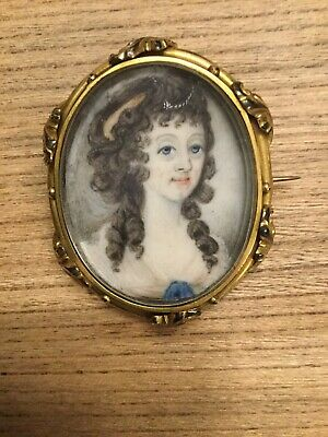 Stunning Antique Miniature Portrait Painting In Gold ? Brooch