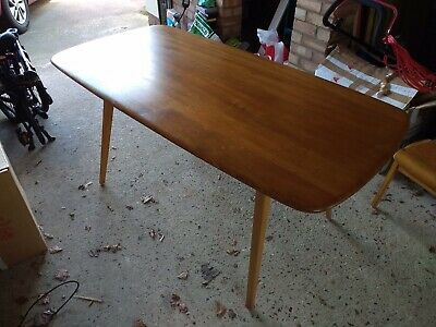 Vintage 60s Retro Mid Century Modern Ercol Windsor Plank Dining Kitchen Table