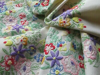 Vintage Hand Embroidered Linen Tablecloth-PRETTIEST BRIGHT FLORAL'S