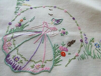 "Vintage Hand Embroidered Linen Tablecloth 50""x49""-CRINOLINE LADIES & FLORAL'S"