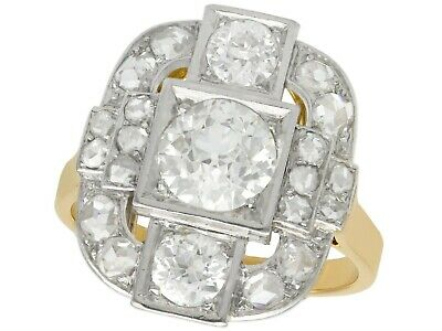 Antique French 2.65ct Diamond and 18ct Yellow Gold Platinum Set Dress Ring