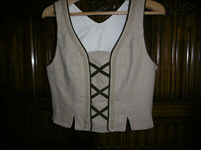17th century style bodice top size 12-14 linen fabric good condition