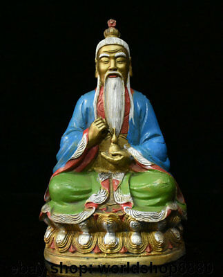 "9.2"" Rare Old Chinese Copper Painting the very high lord Laozi God Gourd Statue"
