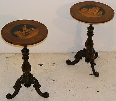 Good Quality Antique Pair Of 19Th Century Rosewood & Walnut Inlaid Tables