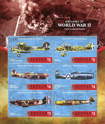 Canouan Gren St Vincent 2018 MNH WW2 WWII Airplanes 6v M/S II Aviation Stamps