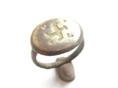 Great Save - Ancient Roman Billon Ring > *卐* & letters *V* & *L* engraved- 100AD