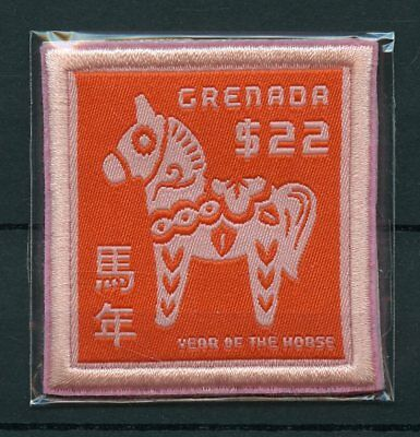 Grenada 2014 MNH Year of Horse 1v Embroidered Stamps Embroidery Lunar New Zodiac