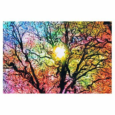 4X(Psychedelic Trippy Tree Abstract Sun Art Silk Cloth Poster Home Decor 50Y2E6