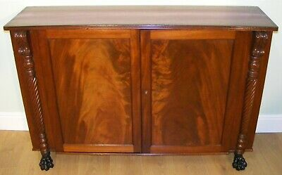 Good Quality Antique Mahogany & Inlaid Side Cabinet Cupboard Bookcase