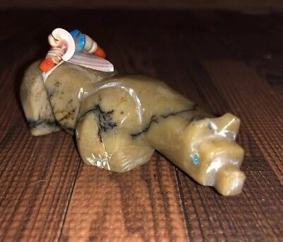 1970s Zuni Carved Picasso Marble Bear Fetish With Turquoise Shell Coral Offering
