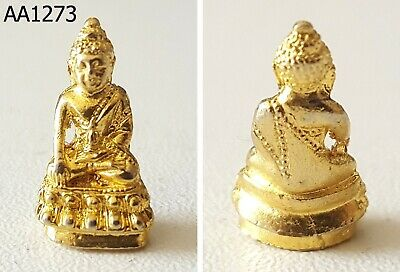 Gold Phra Kring Chin banchon LP Tim Power Thai Buddha Amulet #aa1273g
