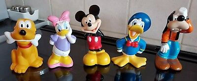"""Disney Figures - Mickey Mouse/Pluto/Goofy/Daisy & Donald - 4.5"""" Cake Toppers VGC"""