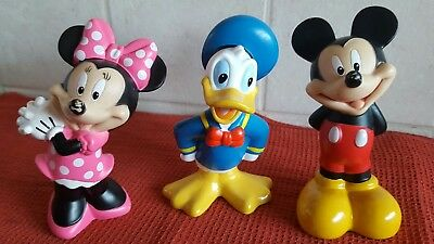 """Disney Figures - Mickey Mouse/ Minnie Mouse & Donald Duck - 4.5""""- Hollow Plastic"""