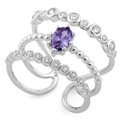 Solid 925 Sterling Silver Triple Band Amethyst and Cubic Zirconia Ring All Sizes