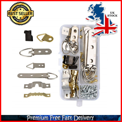 New 68PCS Picture Hanger Kit D Ring Sawtooth Hanger Stainless Steel Heavy Duty