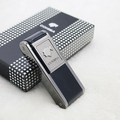 Cohiba Black Metal  2 Torch Jet Flame Cigar Cigarette Lighter W/ Lateral Punch