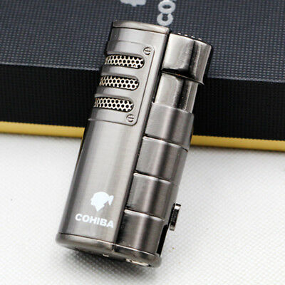 COHIBA Black Metal 3 Torch Jet Flame Cigarette Cigar Lighter With Punch