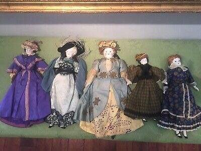 "5 EXTREMELY RARE GERMAN Antique DOLL 1800s ALL ORIGINAL CLOTHING 19"" To 13"""