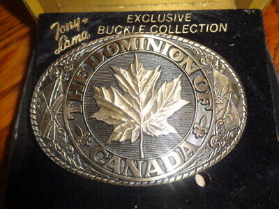 1970's Tony Lama 1st Edition State Seal Brass Belt Buckle Canada