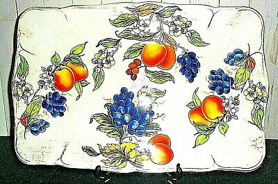 Tuscan Table Made in Italy Hand-Painted Fruit Platter Glass/Porcelain/Ceramic