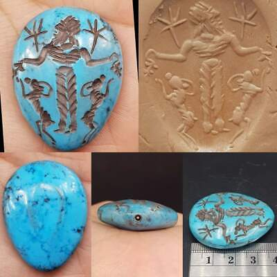 Old turquoise intaglio Stone Beautiful seal Stone Bead    # 17