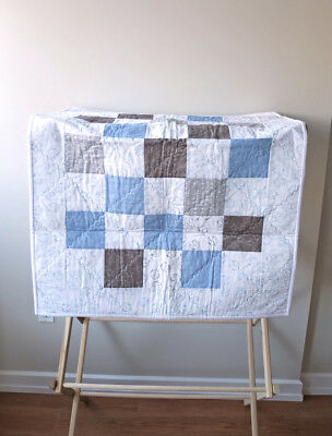 Baby Quilt Neutral Colors Gray/Brown/White/Blue Elephant/Leaf/Star Pattern