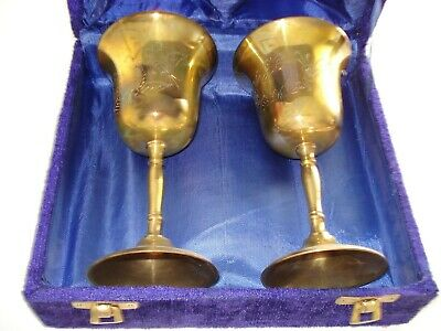 Vintage Solid Brass Goblet Cup Set Of Two India, flower design with purple case