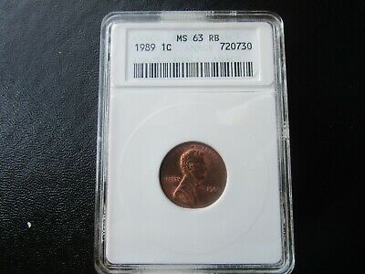 ANACS MS 63 RB 1989 Lincoln Memorial Cent Great For Grading Set Old Small Holder
