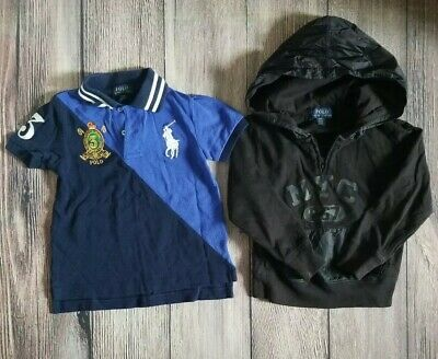 Ralph Lauren Polo Toddler Boys Short Sleeved Polo Shirt and Hoodie 3T Lot of 2
