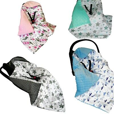 CAR SEAT BABY FILLED BLANKET– Reversible * COSYTOES * all season * PLUSH-MINKY