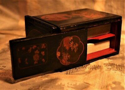 Japanese Decorated Lacquered Puzzle Card Box c. 1920