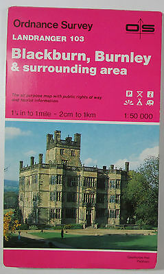 old vintage 1988 OS Ordnance Survey Landranger map 103 Blackburn, Burnley & area