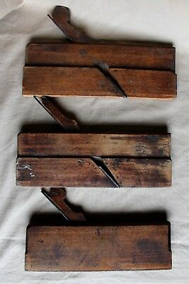 "Three 19th c. English Beechwood Molding Planes (2 Bead, 1 ""V"" Groove) c. 1865"