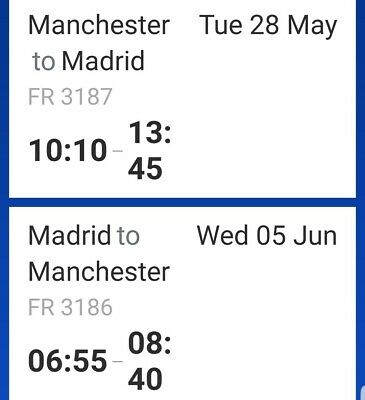 Champions league final flights x 2 adult seat return Manchester 2 Madrid