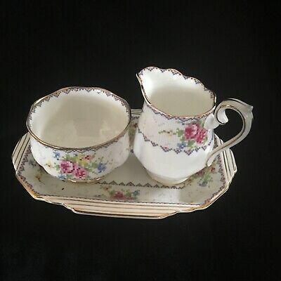 Royal Albert Petit Point Cream, Sugar and Tray