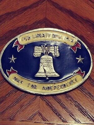"Vintage Bicentennial 1776 Liberty Bell 1976 Belt Buckle ""RING for INDEPENDENCE"""