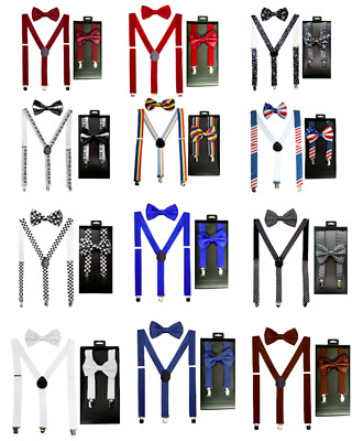 Quality SUSPENDERS and BOW TIE MATCHING BOXED GIFT SET Tuxedo Wedding Party USA