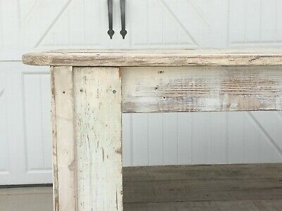 Aafa Antique Wood Harvest Farm Table Kitchen Island Counter Display White Paint