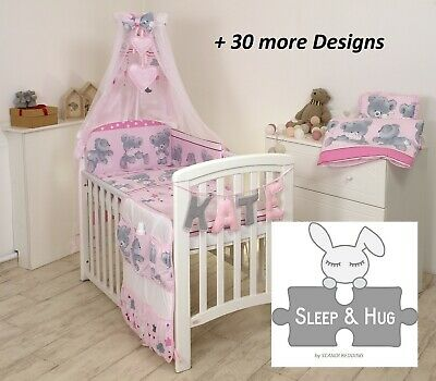 PINK CUTE TEDDY  BABY BEDDING SET COT or COT BED size+ 30 MORE DESIGNS