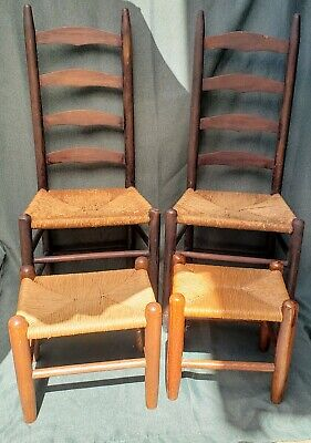 Ladder Back Chairs with Rush Seats(2), Antique