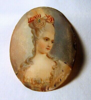 Antique Georgian French Miniature Portrait Painting Noble W Jeweled Wig 3 Day Nr