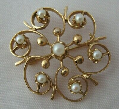 "Vintage 14k Yellow Gold Brooch White Pearl Flower Pin 1.25"" Scroll Circle Wreath"