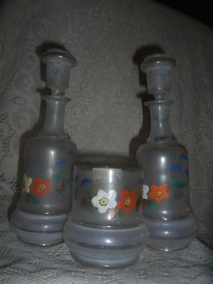 Antique Enameled Blown Bristol Glass Victorian Cruet Decanter Spooner Set~1885