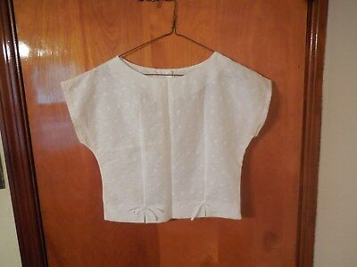 8b65aca877fe85 Vintage 80s Rhapsody White Crop Top Eyelet Blouse Juniors Buttons In Back