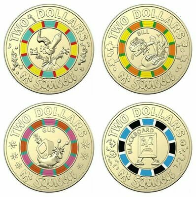 Mr Squiggle 60th Anniversary $2 Coins Full set of 4 New Uncirculated FREE POST
