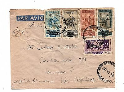 LEBANON USED Cover to ARGENTINA 5 UNESCO STAMPS & PALESTINE TAX LOT (034)