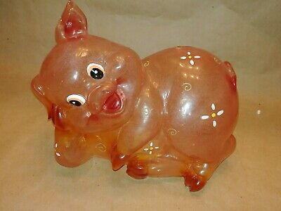 Vintage Transparent Delta Clear Piggy Coin Bank Clear Acrylic HTF Lucite Resin